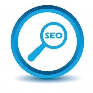 Blue Seo search icon on a white background. Vector illustration
