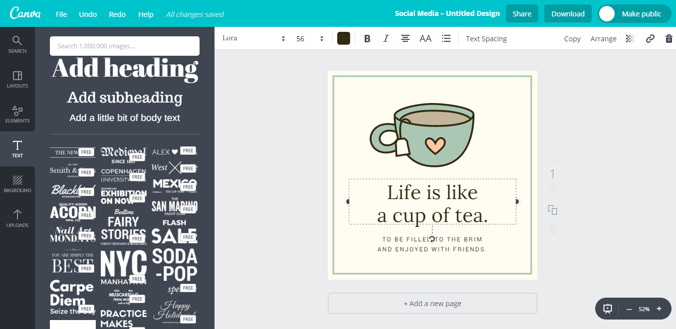 usign canva to create infographics