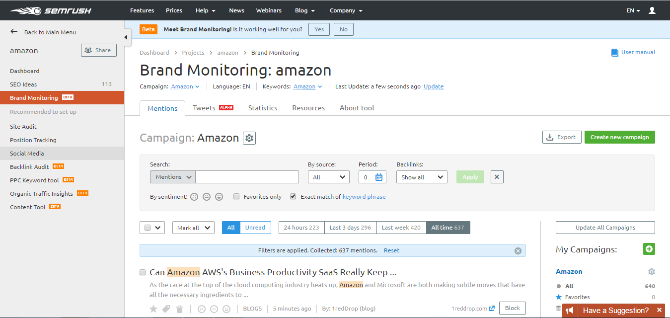 Brand monitoring amazon