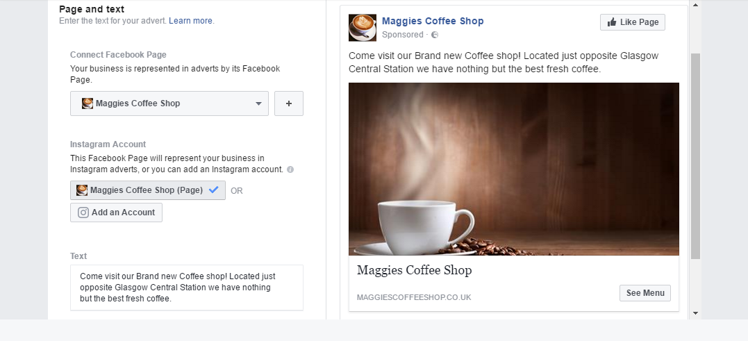 Facebook ad page and text