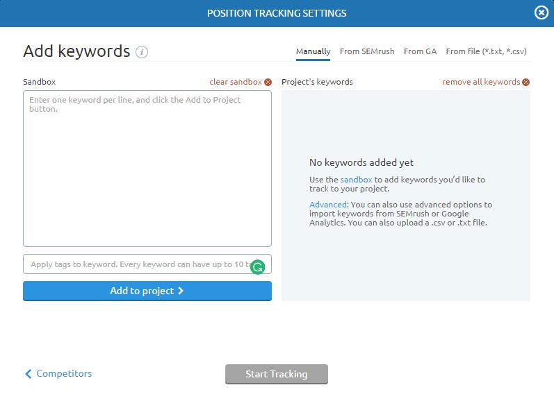 Position tracking keywords