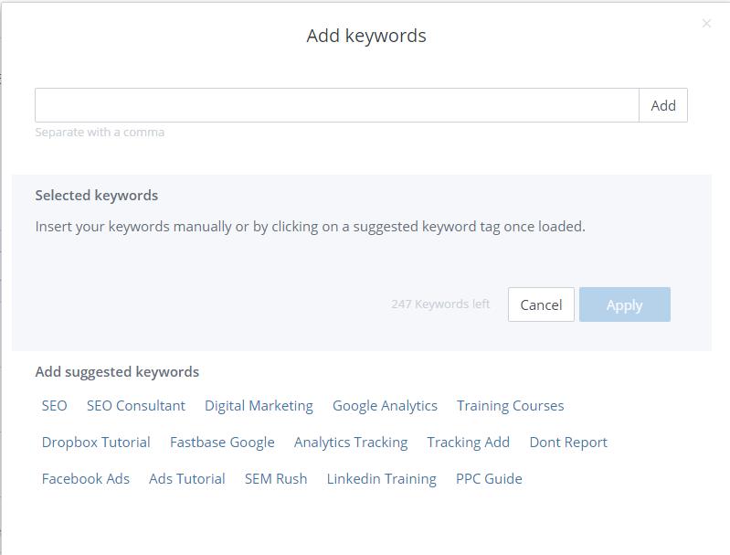 WooRank Keyword Tool