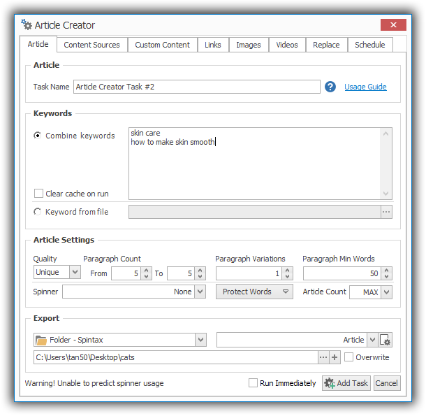 SEO Content Machine Add Task