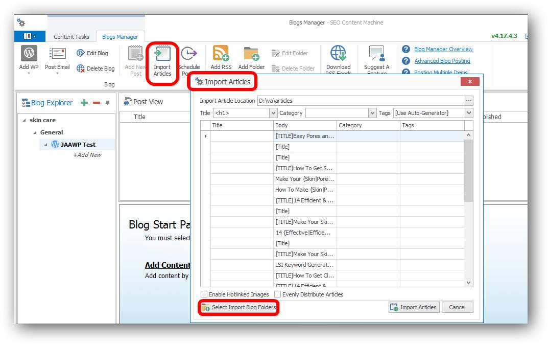 SEO Content Machine Import Articles