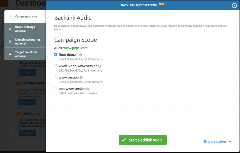 SEMRush Disavow Tool Backlink Audit