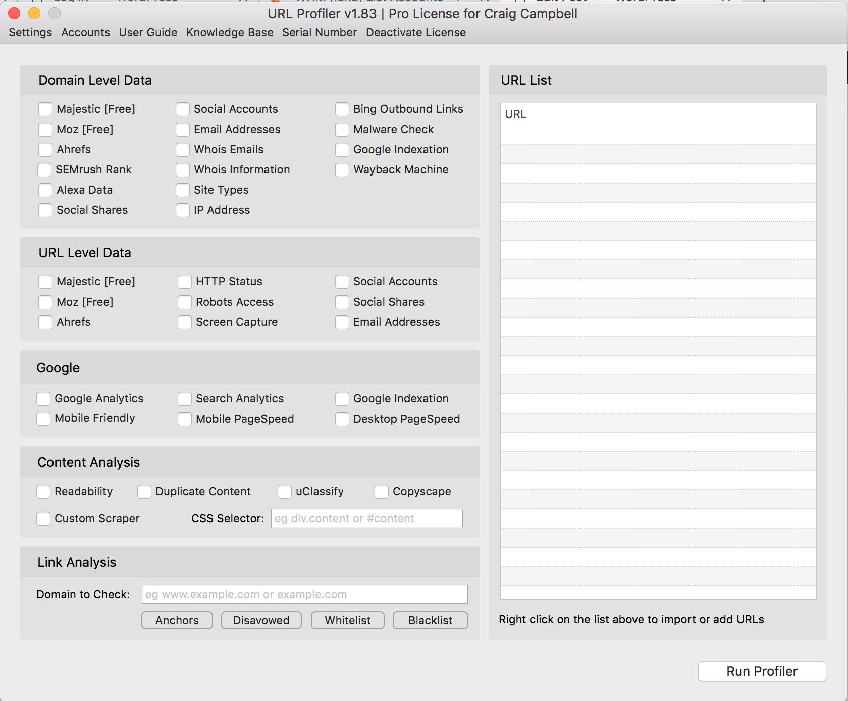 URL profiler dashboard