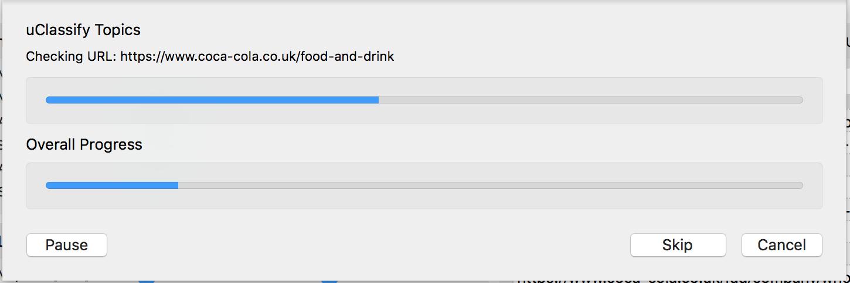 URL profiler progress bar