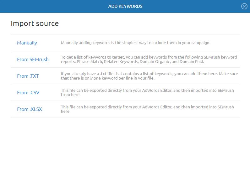 Keywords import source