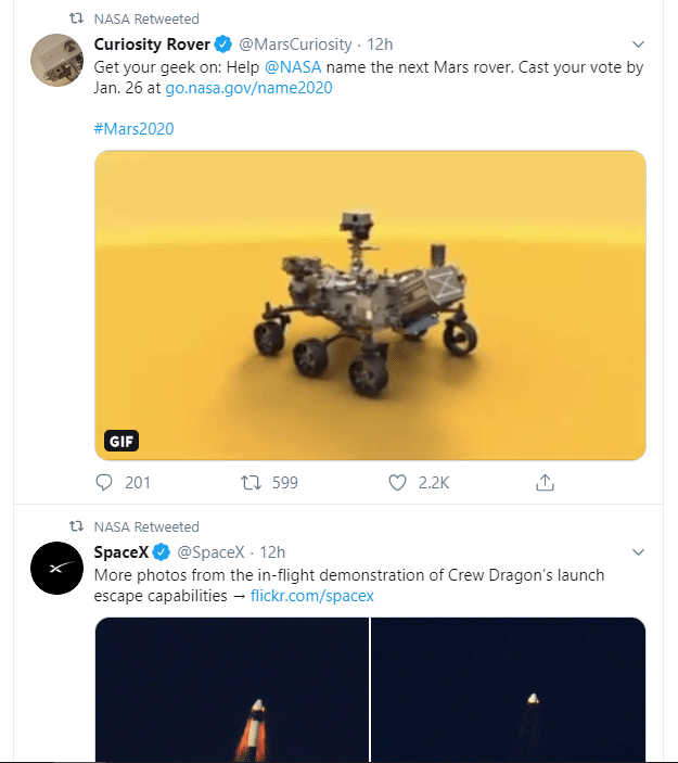 nasa curates content on twitter