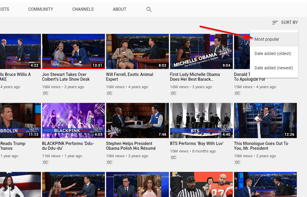get subscribers youtube - audit - colbert most popular