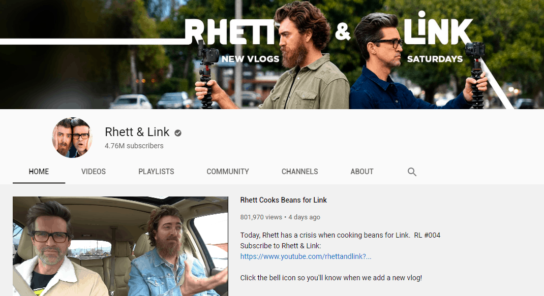 get subscribers youtube - channel icon - rhett and link