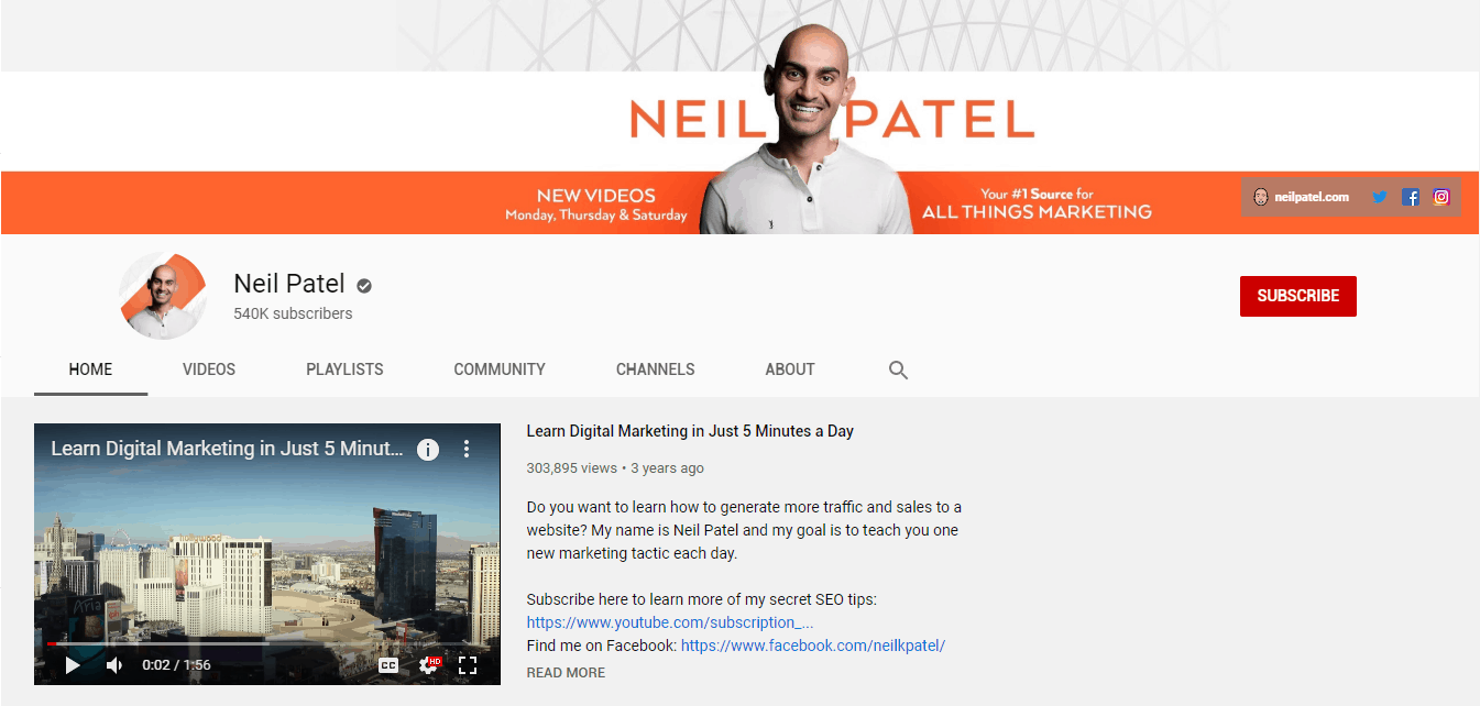 get subscribers youtube - channel trailer - neil patel