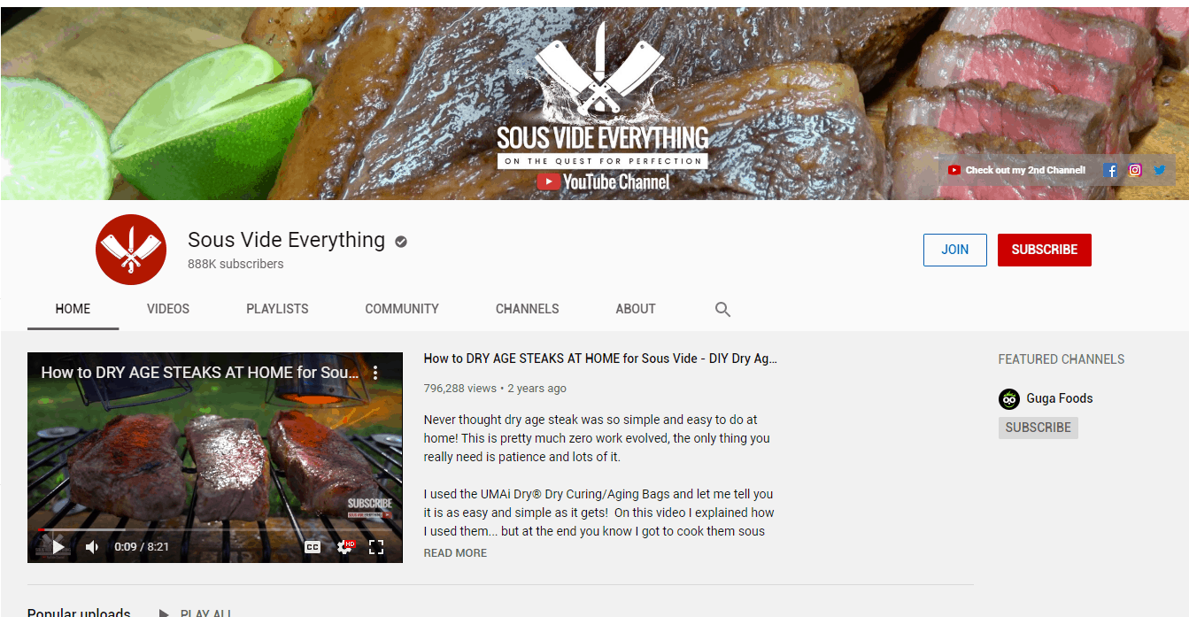 get subscribers youtube - tagline - sous vide everything