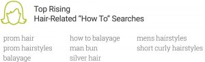 top rising hair-related how-to searches