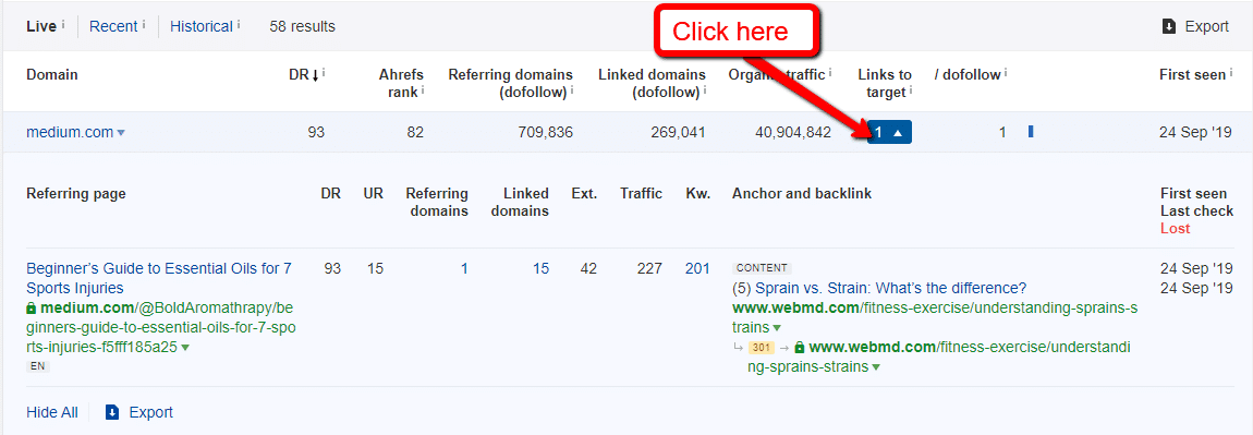 ahrefs links to target