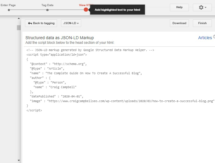 Structured Data Markup Helper step 3