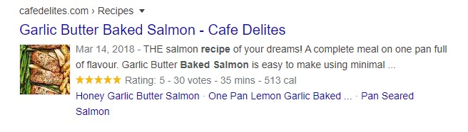 baked salmon recipe - organic search