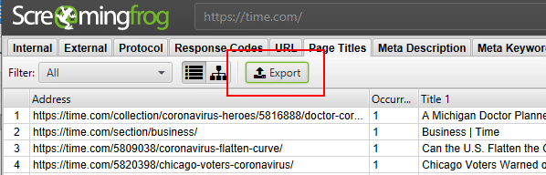 duplicate content - check duplicate content on website - screamingfrog export