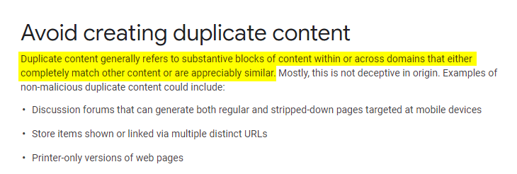 duplicate content - what does it mean - search console
