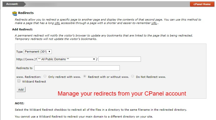 manage redirects from cpanel