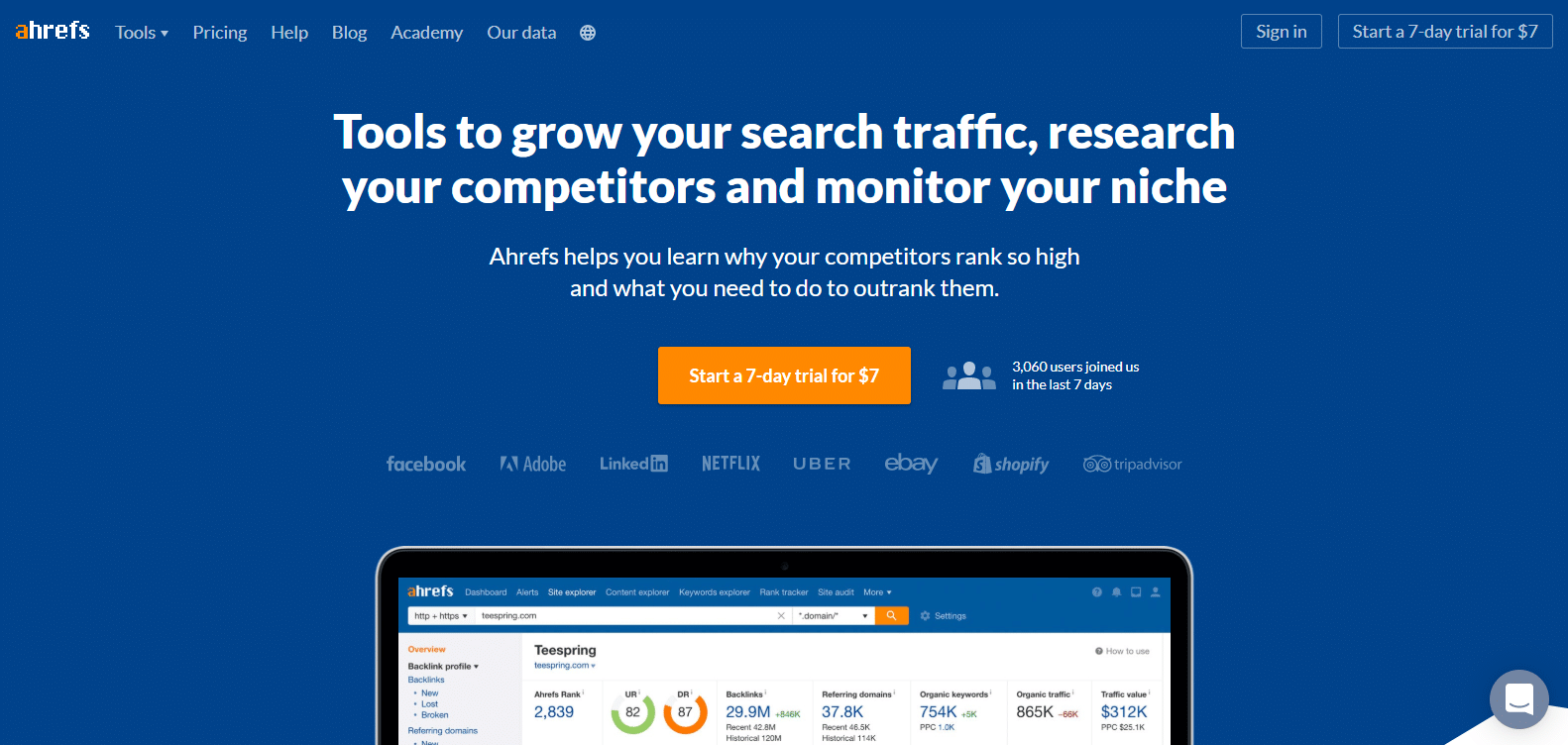 website backlink analysis - ahrefs