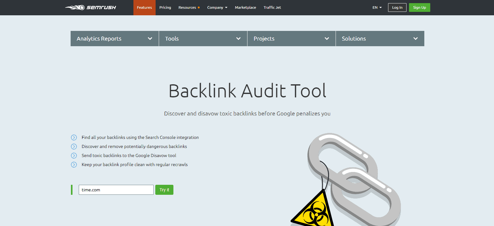 toxic backlinks - how to identify - semrush backlink audit tool
