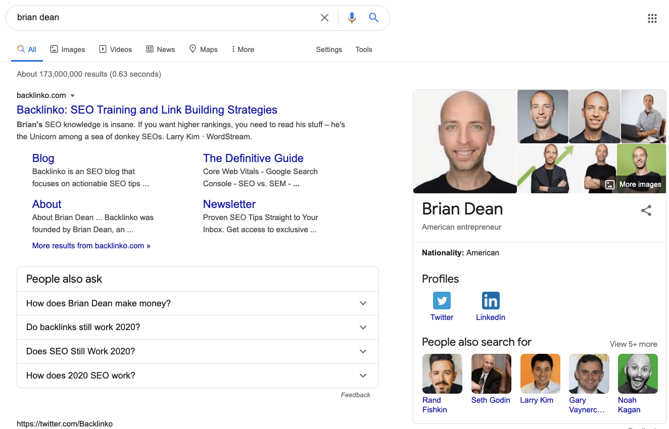 brian dean knowledge panel example